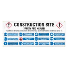 Accuform Fence-Wrap Mesh Banner: Construction Site, Safety and Health, Follow These Preventive Guidelines - White (5' x 10')
