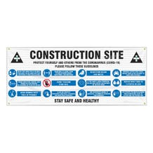 Accuform Fence-Wrap Mesh Banner: Construction Site Protect Yourself and Others - White (5' x 10')