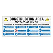 Accuform Fence-Wrap Mesh Banner: Construction Area Stay Safe and Healthy Protect Yourself - White (5' x 10')