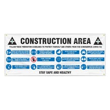 Accuform Fence-Wrap Mesh Banner: Construction Area, Follow These Preventive Guidelines - White (5' x 10')