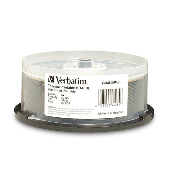 Verbatim White DataLifePlus Thermal Hub Printable 50GB 6X Blu-Ray DL - 25pc