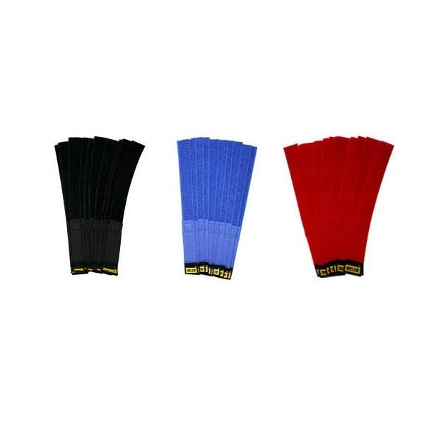 "Rip-Tie 1 x 9"" Red Hook and Loop Cable Wrap - 10 Pk"