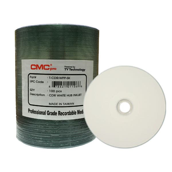 photo regarding Inkjet Printable Cd named CMC Specialist Taiyo Yuden 52X White Inkjet Printable CD-R - 100personal computer