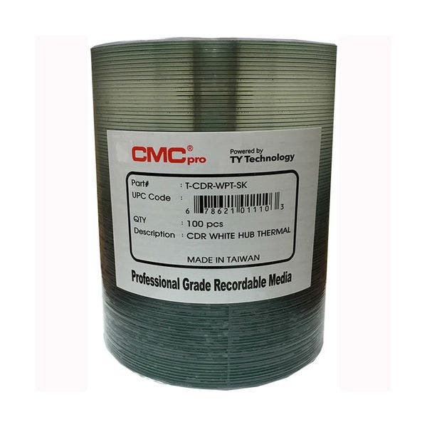 photo about Printable Cds identify CMC Professional Taiyo Yuden 52x White Thermal Printable CD-R - 100personal computer