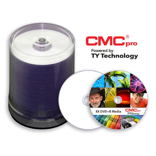 CMC Pro Taiyo Yuden 8X Silver Inkjet 4.7GB 8X DVD+R Cake Box - 100pc