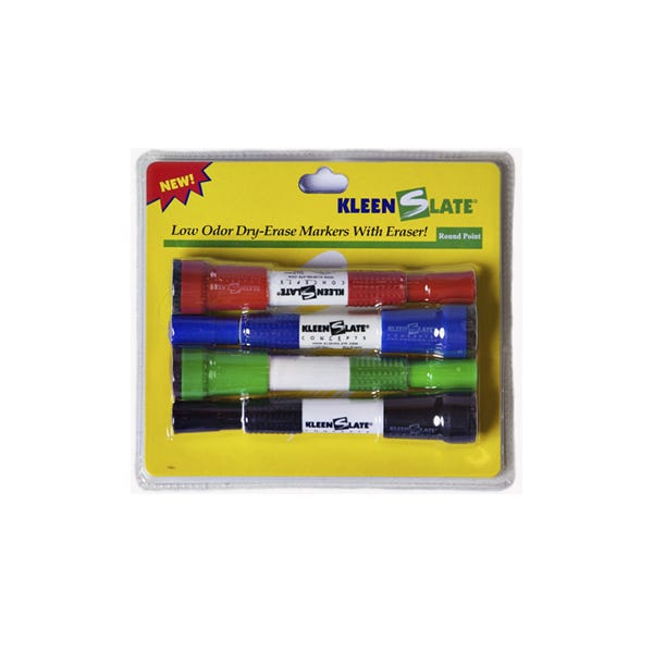 KLEENSLATE Large Dry Erase Markers w/ Erasers - 4 Pack