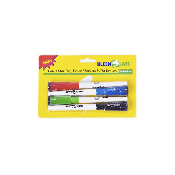 KLEENSLATE Small Dry Erase Markers w/ Erasers - 4 Pack