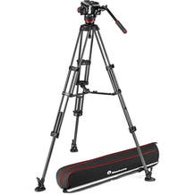 Manfrotto 504X Fluid Video Head & MVTTWINMC Carbon Fiber Tripod with Mid-Level Spreader