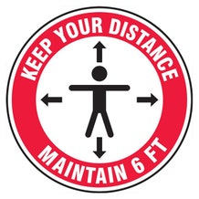 "Accuform Slip-Gard Floor Sign: Keep Your Distance Maintain 6 FT (17"")"