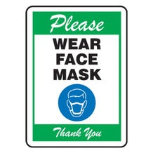 "Accuform OSHA Safety First Safety Sign: Please Wear Face Mask Thank You - Green, Dura-Fiberglass (10"" x 7"")"