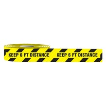 "Accuform Plastic Barricade Tape: Keep 6 FT Distance - Black/Yellow (3"" x 1000')"