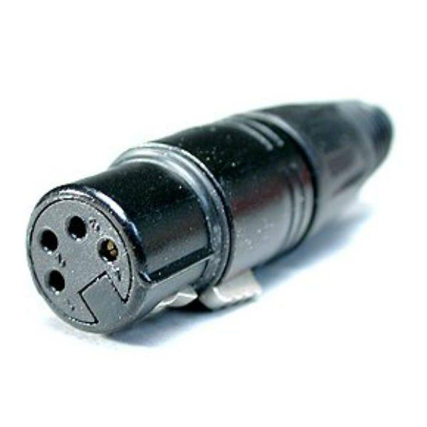 Neutrik XLR Cable Connector NC4FX-B. Gold 4-Pin Female.