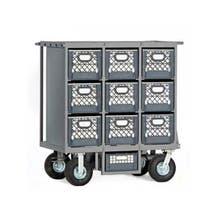 "Studio Carts Nine Crate Cart with 2x 10"" Rigid and 2x 10"" Swivel Pneumatic Wheels"