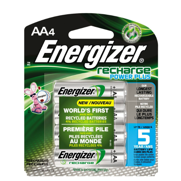 Energizer AA Rechargeable NiMH Batteries- 4 Pack