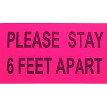 """ProTape - """"Please Stay 6 Feet Apart"""" - Pink/Black 6x10 Adhesive Sign - 500 Pack"""