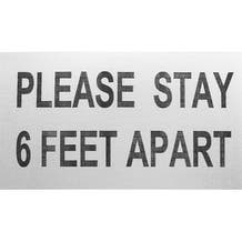 """ProTape - """"Please Stay 6 Feet Apart"""" - White/RED 6x10 Adhesive Sign - 500 Pack"""