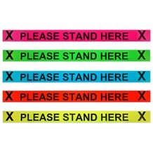 """ProTape - """"Please Stand Here"""" - 3x36 Adhesive Strip 20 signs per roll - Various Colors"""