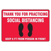"""Accuform Slip-Gard Floor Sign: Thank You For Practicing Social Distancing - Red Rectangle (12"""" x 18"""")"""