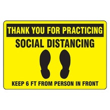 "Accuform Slip-Gard Floor Sign: Thank You For Practicing Social Distancing - Yellow Rectangle (12"" x 18"")"
