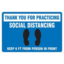"Accuform Slip-Gard Floor Sign: Thank You For Practicing Social Distancing - Blue Rectangle (12"" x 18"")"