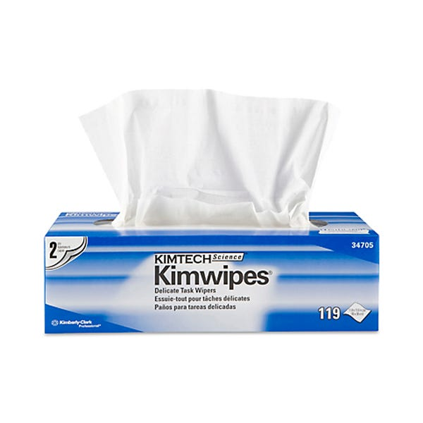 """Kimtech Science 12 x 12"""" KimWipes Low-Lint Task Wipers - 2-ply 119 count"""