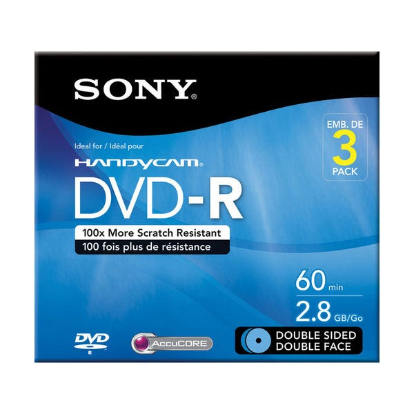Sony 4X Double Sided w/ Hangtab 2.8GB DVD-R - 3pc