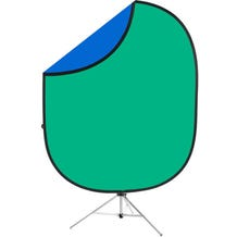 Savage Chroma Green/Blue Collapsible 6 x 7' Backdrop with 8' Stand