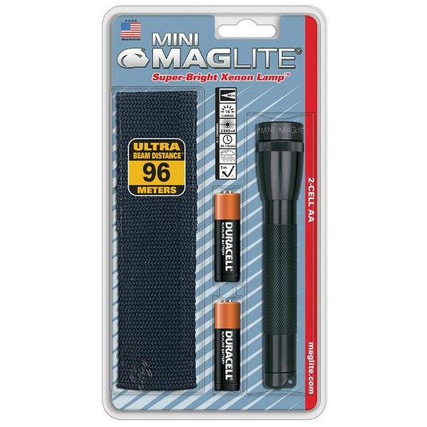 Maglite Mini AA Flashlight with Holster, Incandescent Bulb, 3 V - Black