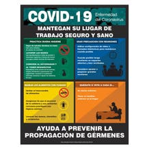 """Accuform Safety Poster: COVID-19 Keep the Workplace Safe - Spanish, Non-Laminated (22"""" x 17"""")"""