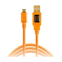 Tether Tools 15' TetherPro USB 2.0 Type-A to 5-Pin Micro-B Cable - Orange