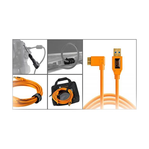 Tether Tools Starter Tethering Kit with USB 3.0 Micro-B Right Angle Cable - Orange