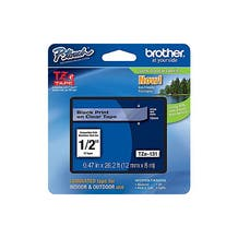"""Brother 1/2"""" P-Touch TZe Label Tape with Black Letters - Clear"""