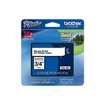 "Brother 3/4"" P-Touch TZe Label Tape with Black Letters - White"