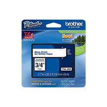 """Brother 3/4"""" P-Touch TZe Label Tape with Blue Letters - White"""