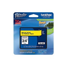 "Brother 3/4"" P-Touch TZe Label Tape with Black Letters - Yellow"