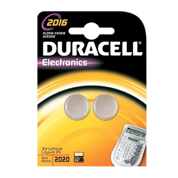 Duracell DLCR2016-B2PK 75mAh 3V Lithium Battery - 2 Pack