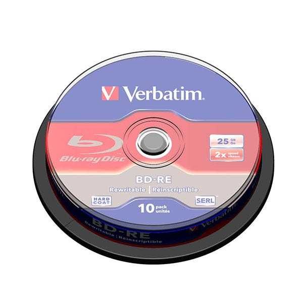 Verbatim Re-Writable 25GB 2X Blu-Ray - 10pc