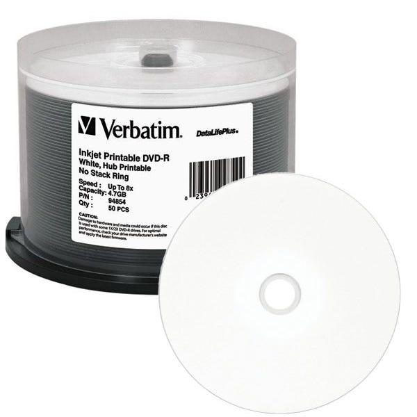 Verbatim 94854 DVD-R 4.7GB 8X DataLifePlus White Inkjet Printable, Hub Printable - 50pc