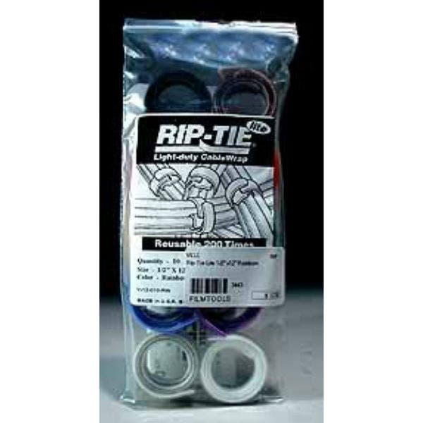 """Rip-Tie  hook and loop Cable Ties.  Rainbow 10 Pack 1/2"""" x 12"""""""
