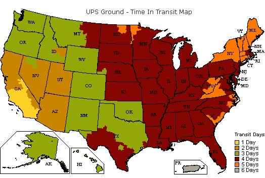 UPS Ground Time-In-Transit Map